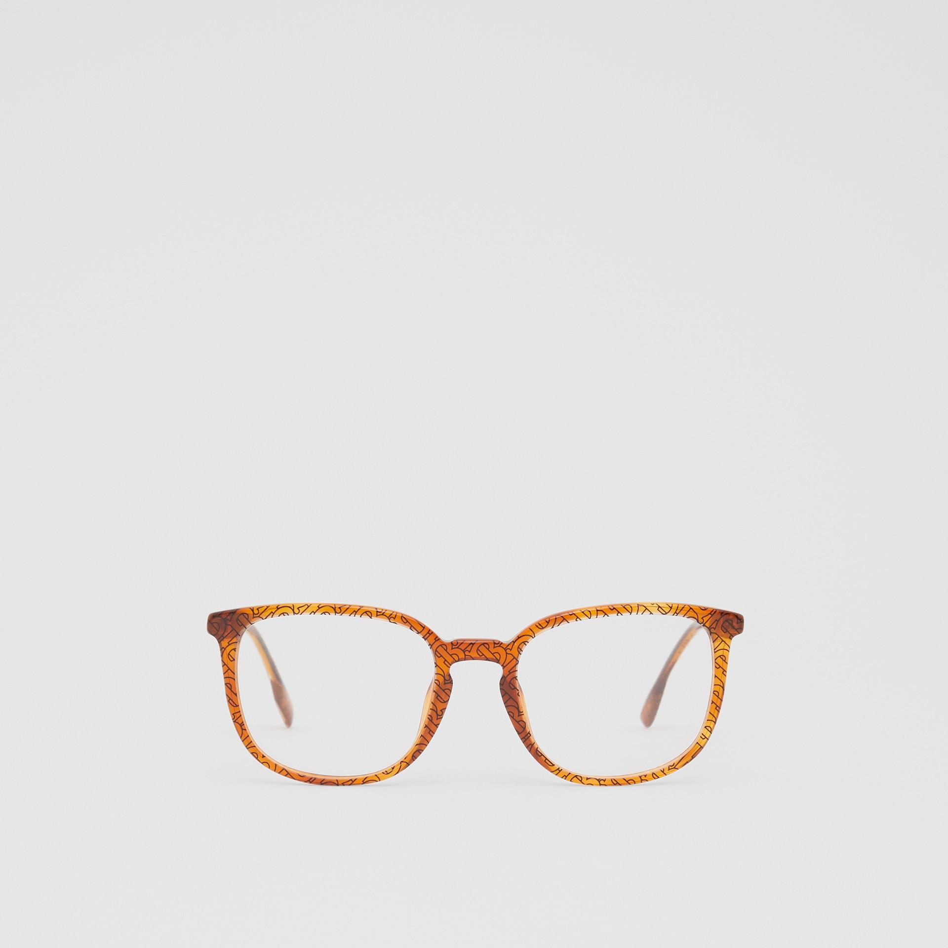 Monogram Print Square Optical Frames in Tortoiseshell Amber | Burberry Canada - gallery image 0