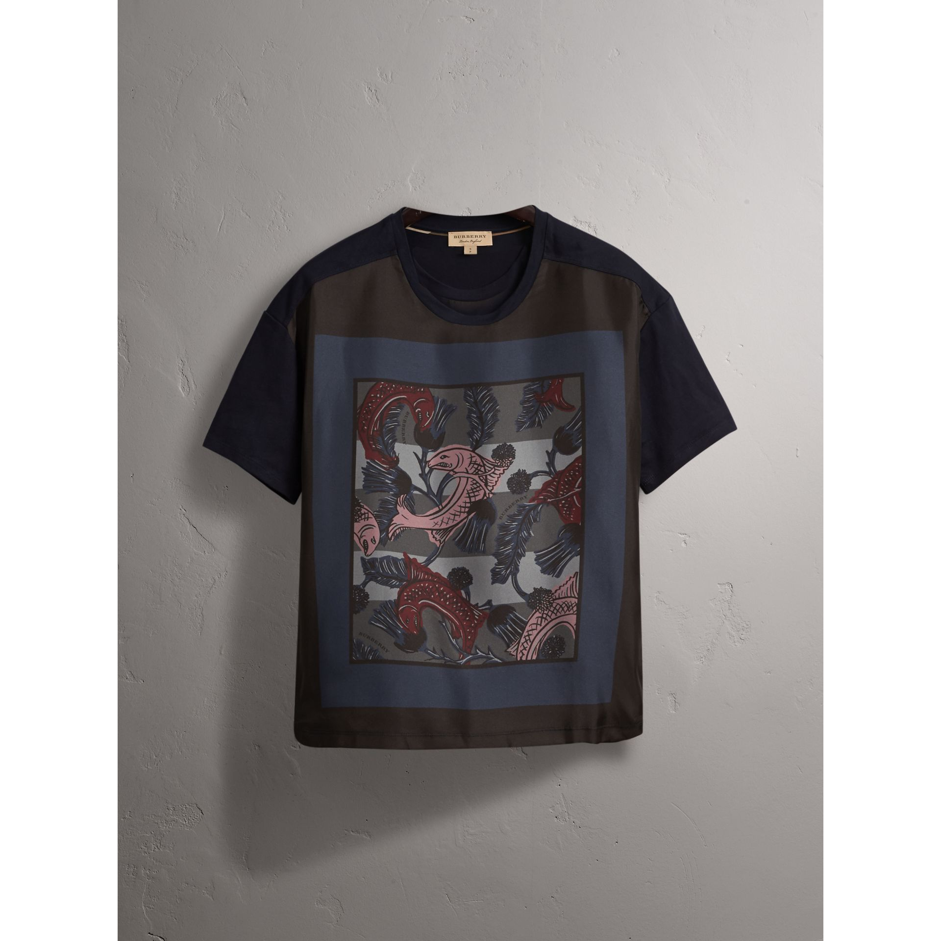 Beasts Print Silk Panel Cotton T-shirt in True Navy - Women | Burberry - gallery image 4