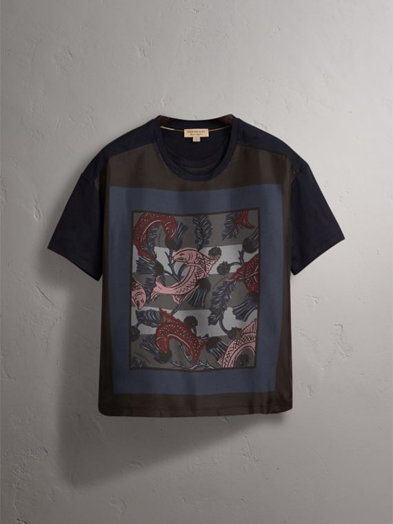 Beasts Print Silk Panel Cotton T-shirt in True Navy - Women | Burberry Canada - cell image 3
