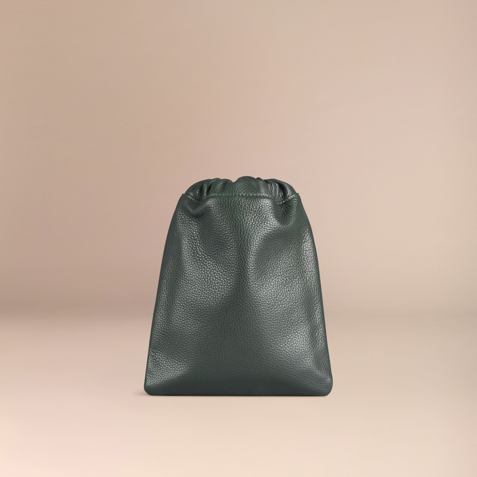 Dark forest green Grainy Leather Drawstring Pouch Dark Forest Green - gallery image 4