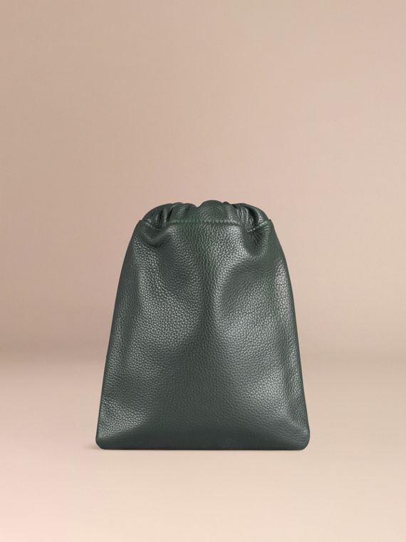 Dark forest green Grainy Leather Drawstring Pouch Dark Forest Green - cell image 3