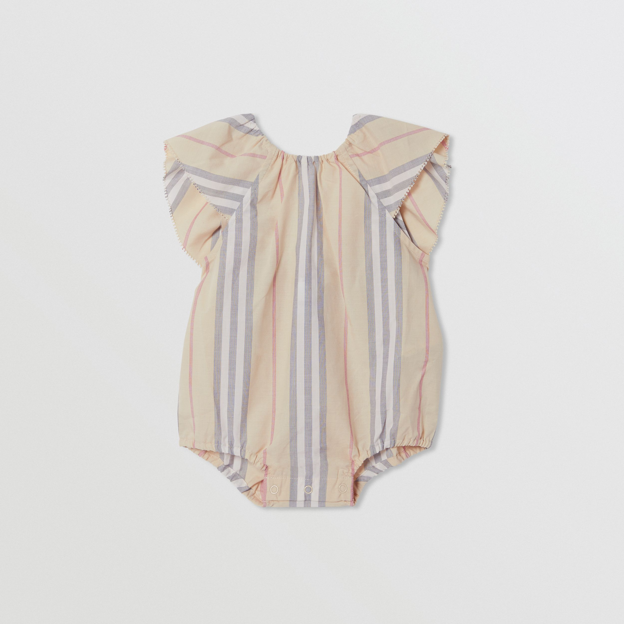 Ruffled Icon Stripe Cotton Bodysuit in Pale Stone - Children | Burberry - 1