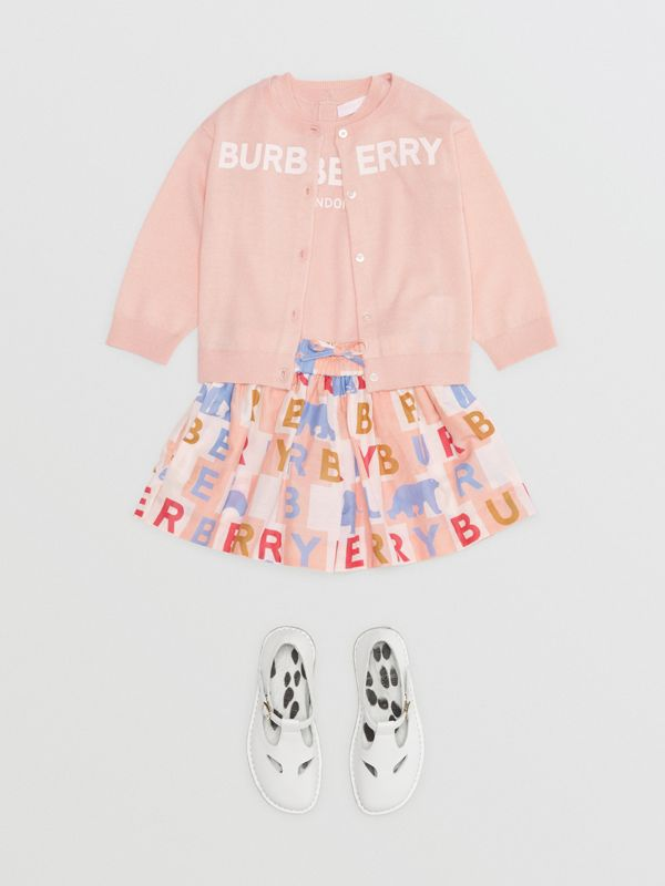 Logo Print Cotton Silk Drawcord Shorts in Pale Rose - Children | Burberry - cell image 2