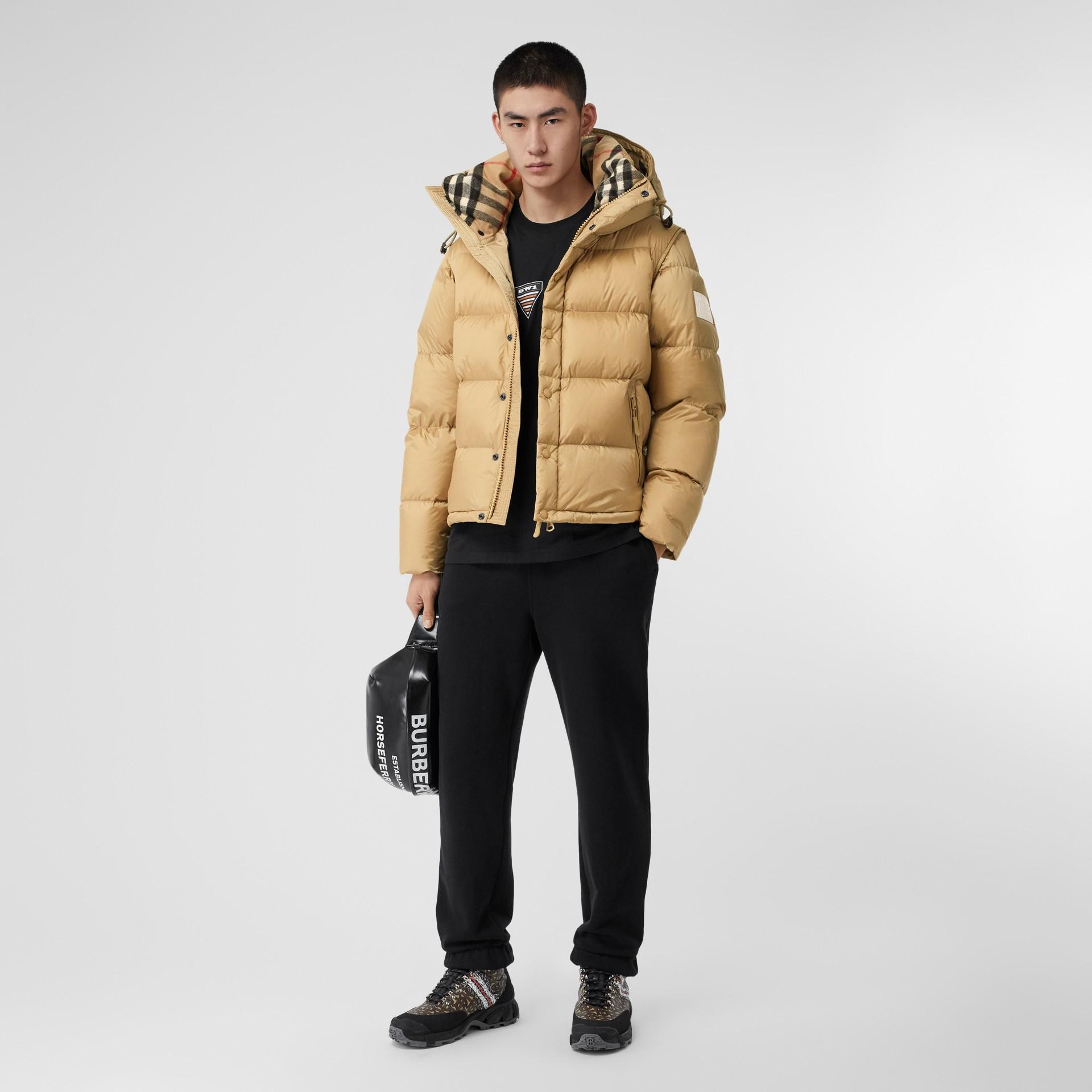 Detachable Sleeve Hooded Puffer Jacket in Honey - Men | Burberry - gallery image 0