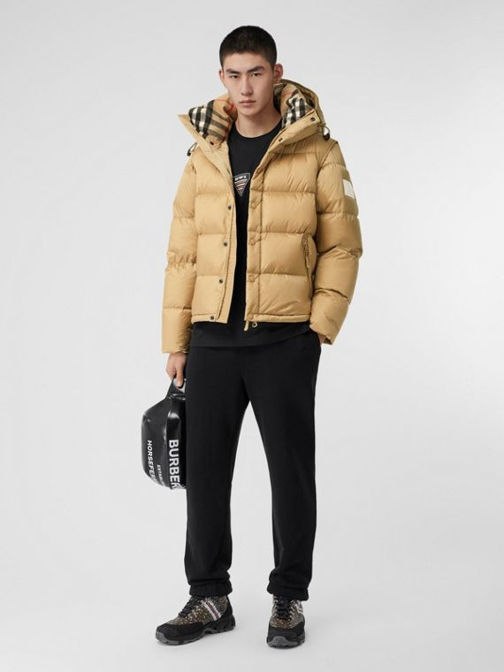 Detachable Sleeve Hooded Puffer Jacket in Honey