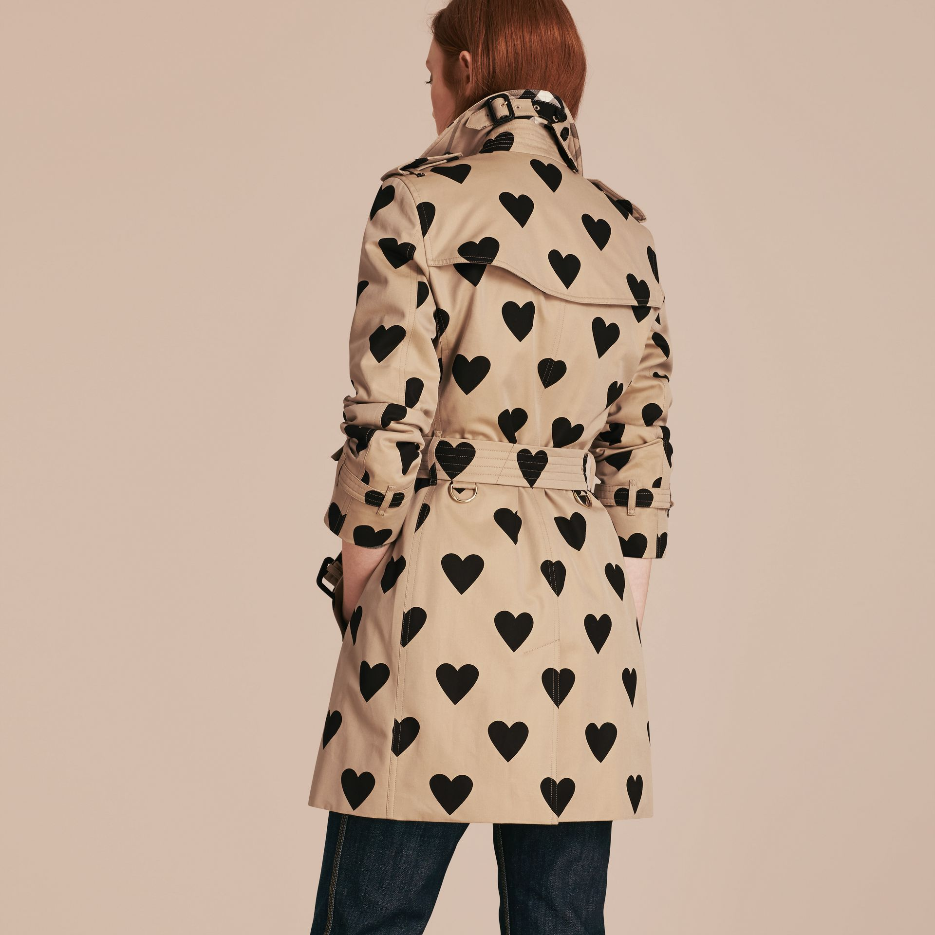 Black/honey Heart Print Cotton Gabardine Trench Coat - gallery image 3