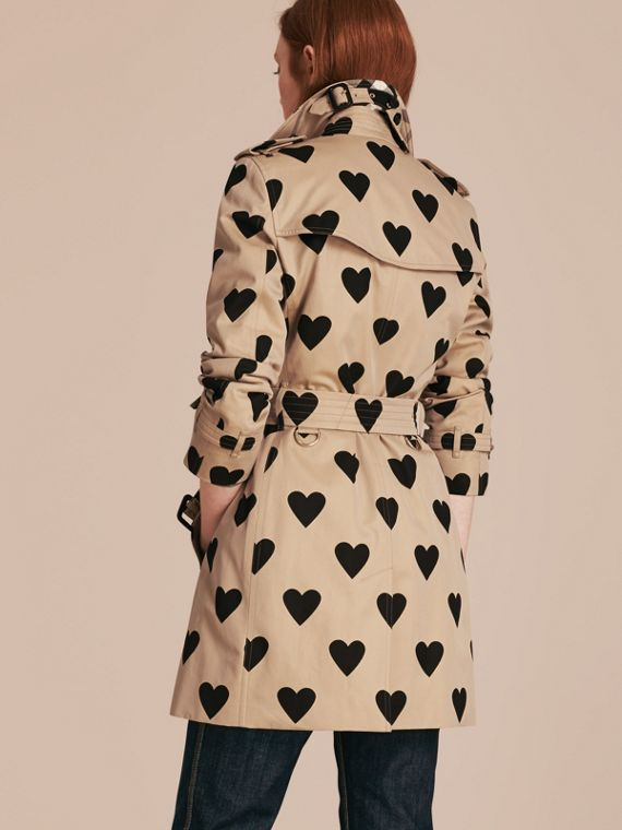 Black/honey Heart Print Cotton Gabardine Trench Coat - cell image 2