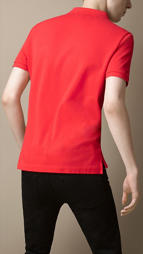 Military red Cotton Piqué Double Dyed Polo Shirt - Image 2