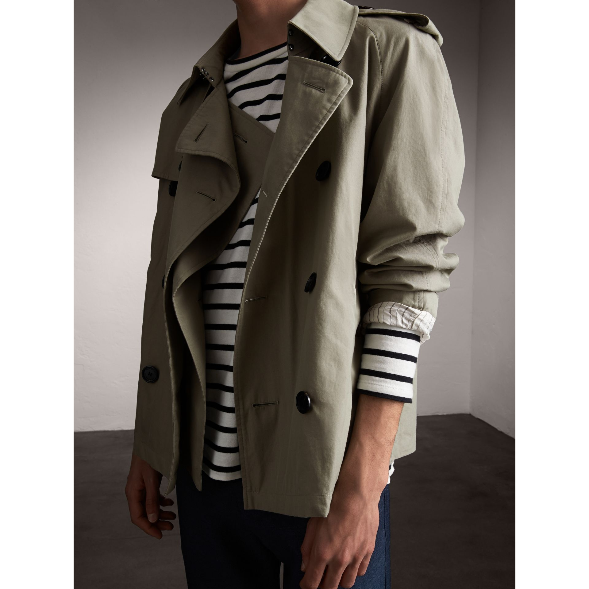 Unisex Tropical Gabardine Trench Jacket in Slate Green - Men | Burberry - gallery image 5