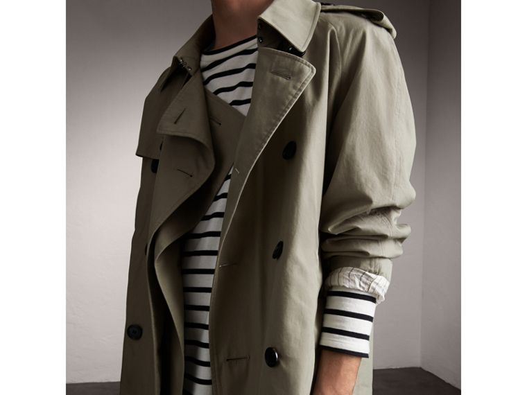 Unisex Tropical Gabardine Trench Jacket in Slate Green - Men | Burberry - cell image 4