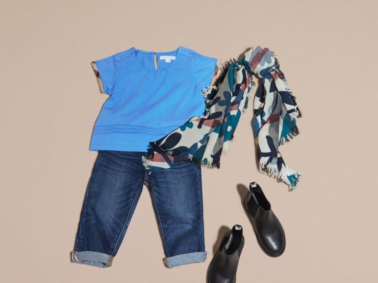Bleu hortensia vif T-shirt à plis en coton à motif check Bleu Hortensia Vif - cell image 4