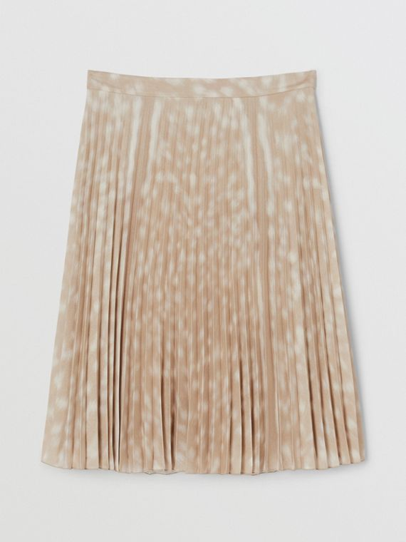 Deer Print Pleated Skirt in Soft Fawn