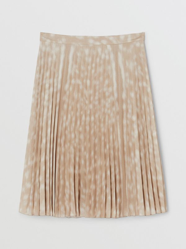 Deer Print Pleated Skirt in Soft Fawn - Women | Burberry - cell image 3