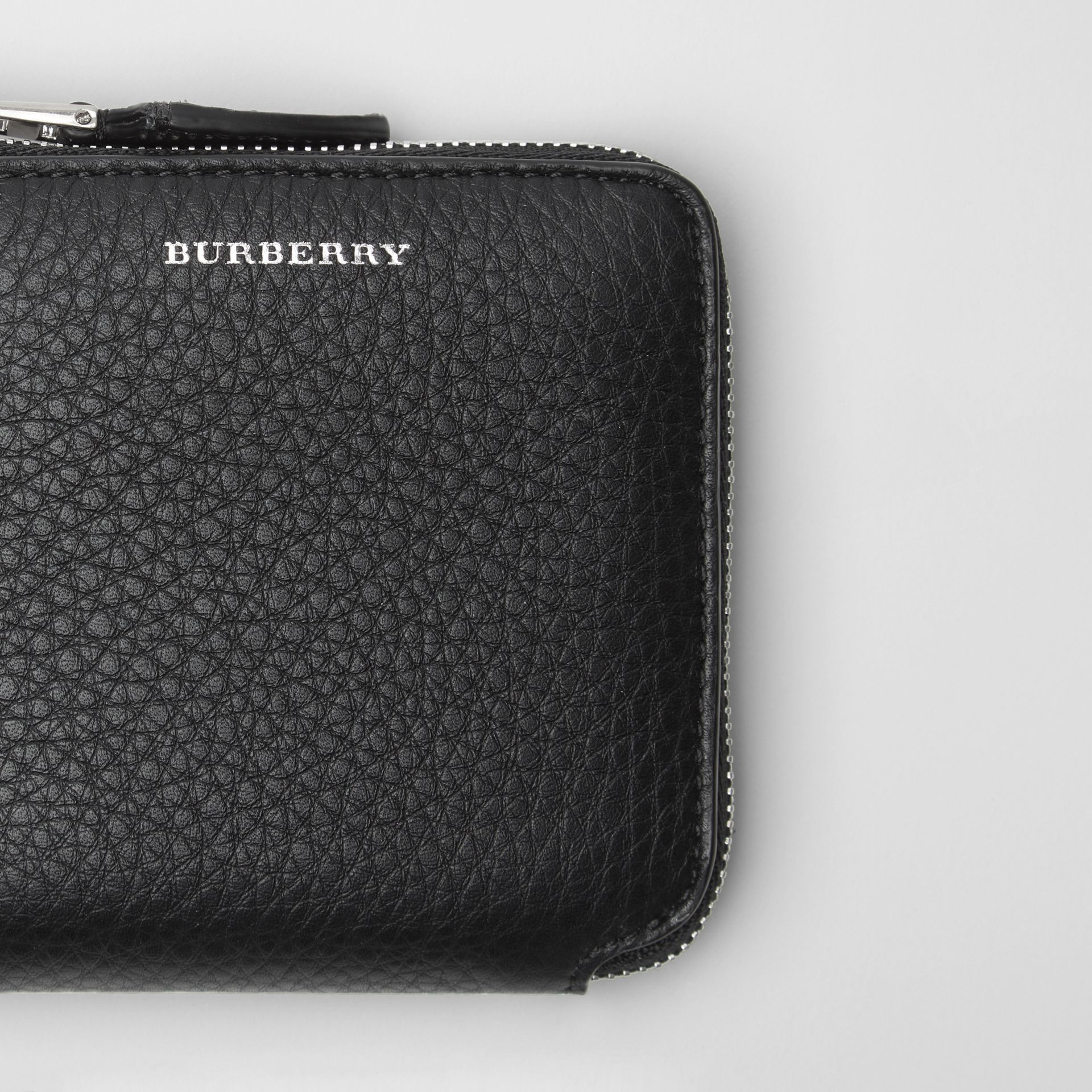 Grainy Leather Square Ziparound Wallet in Black - Women | Burberry United Kingdom - gallery image 1