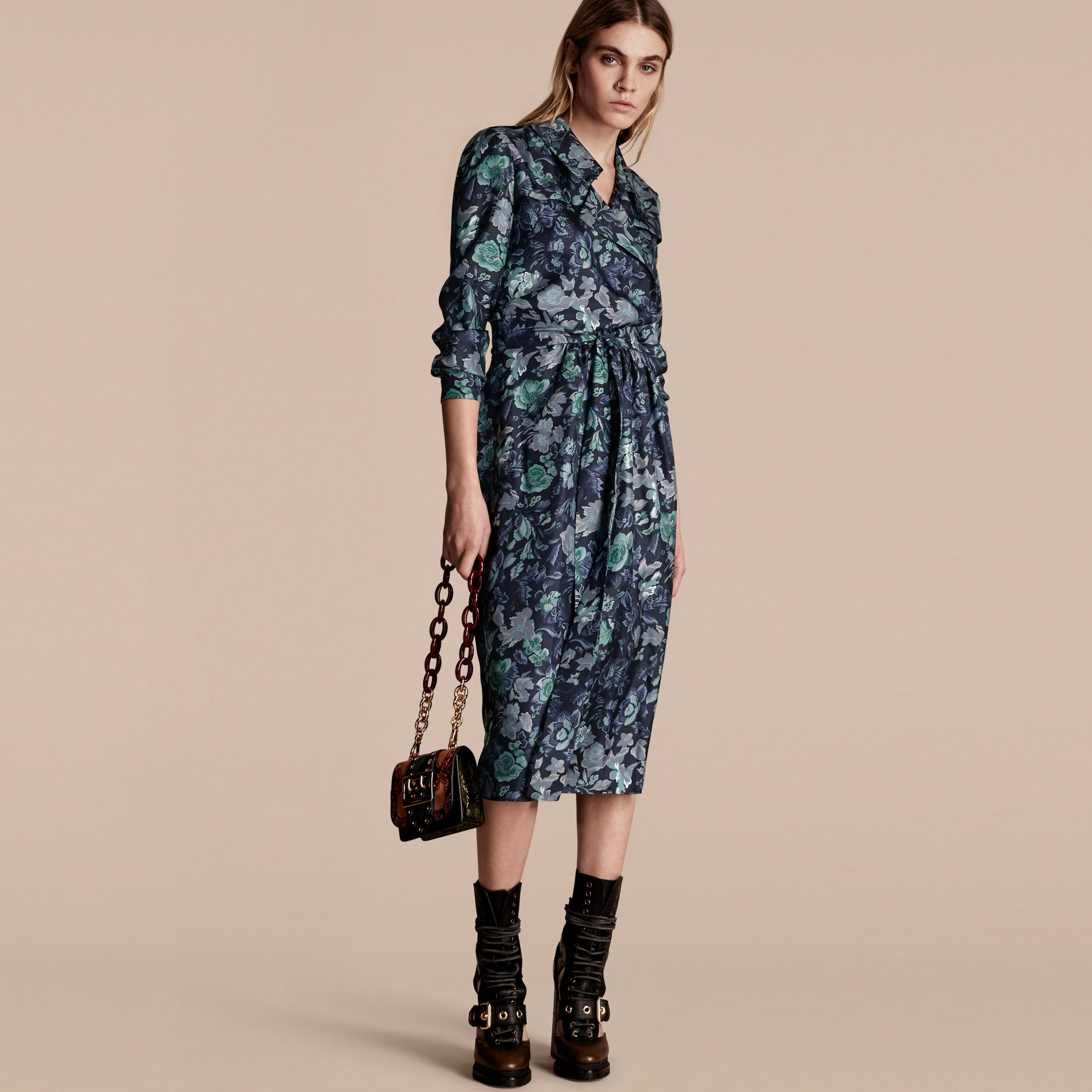 Navy Garden Floral Print Silk Wrap Trench Dress - gallery image 1