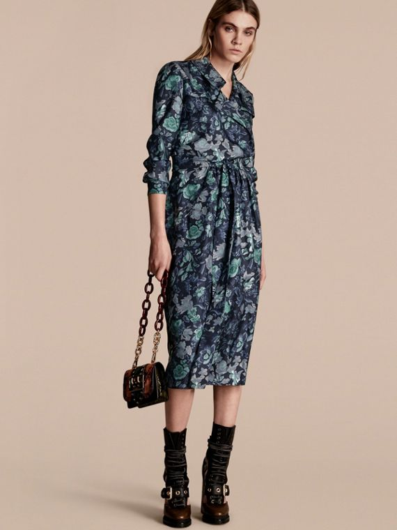 Garden Floral Print Silk Wrap Trench Dress Navy