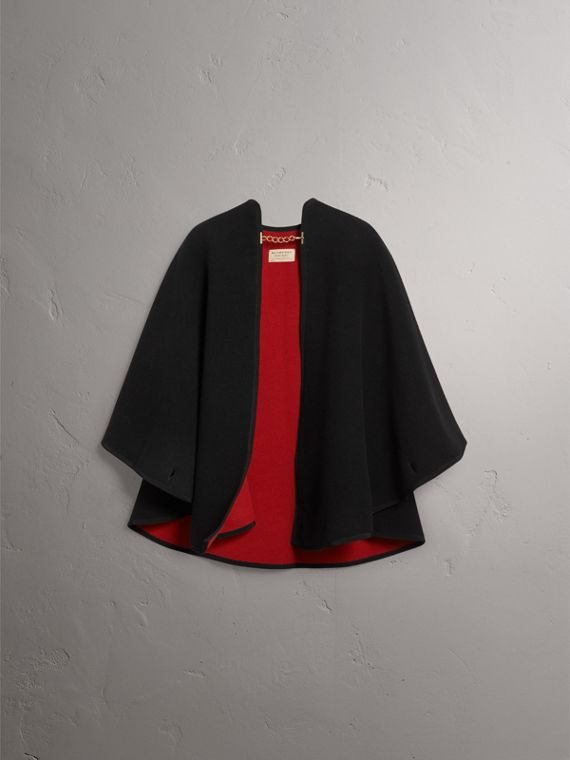 Wool Cashmere Military Cape in Black/parade Red - Women | Burberry - cell image 3