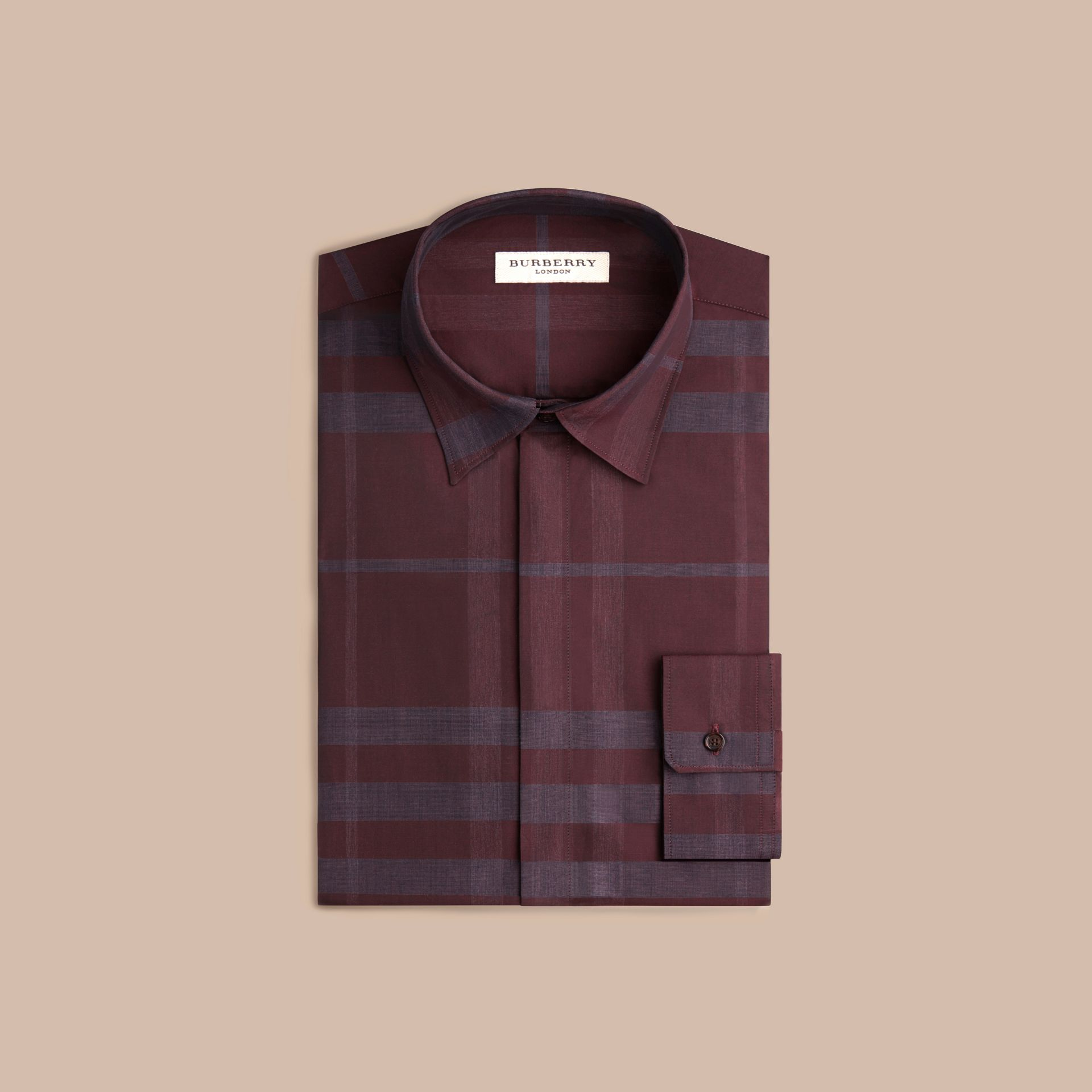 Deep burgundy Check Cotton Shirt Deep Burgundy - gallery image 4
