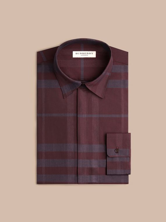 Deep burgundy Check Cotton Shirt Deep Burgundy - cell image 3