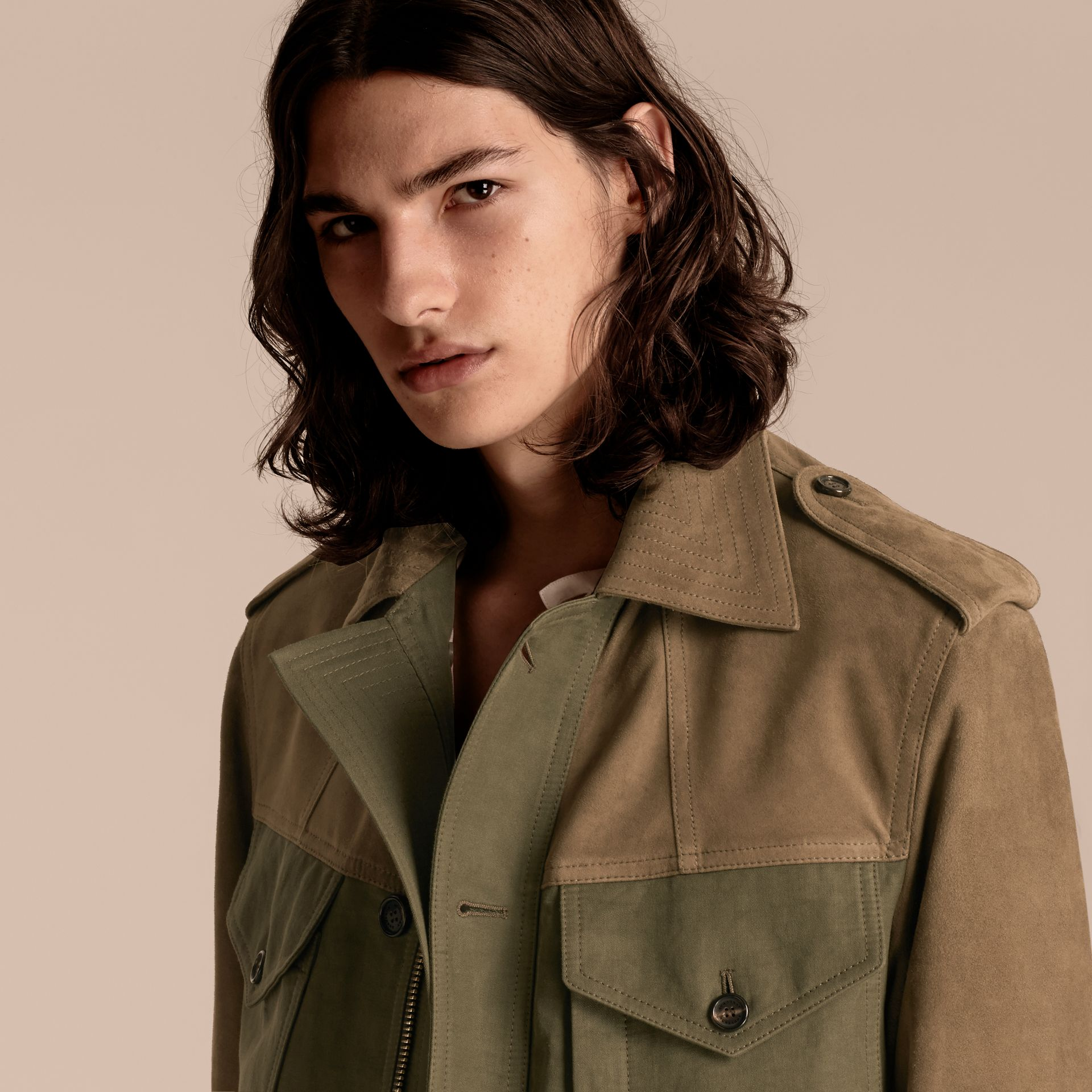 Military green Ramie Cotton and Suede Field Jacket - gallery image 5