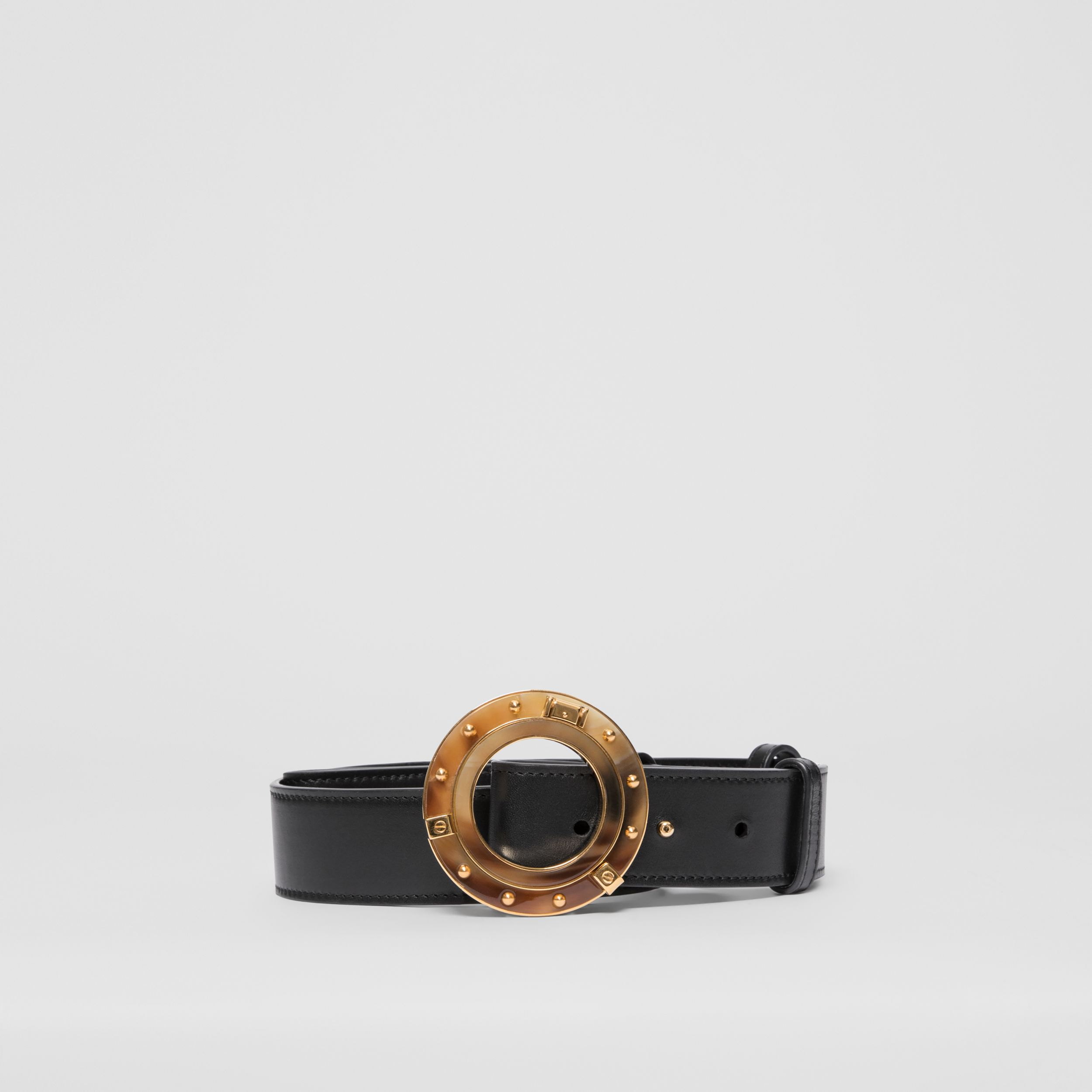 Porthole Buckle Leather Belt in Black | Burberry - 1