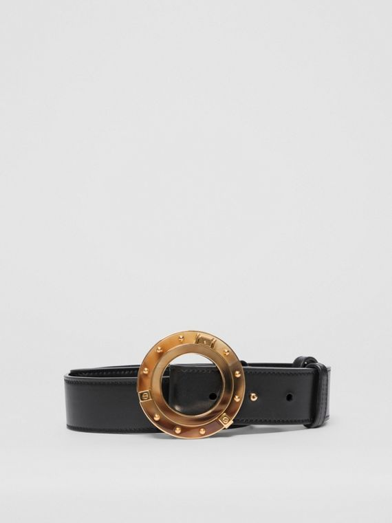 Porthole Buckle Leather Belt in Black