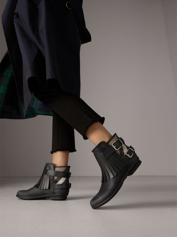 House Check and Fringed Rubber Rain Boots in Black - Women | Burberry - cell image 2