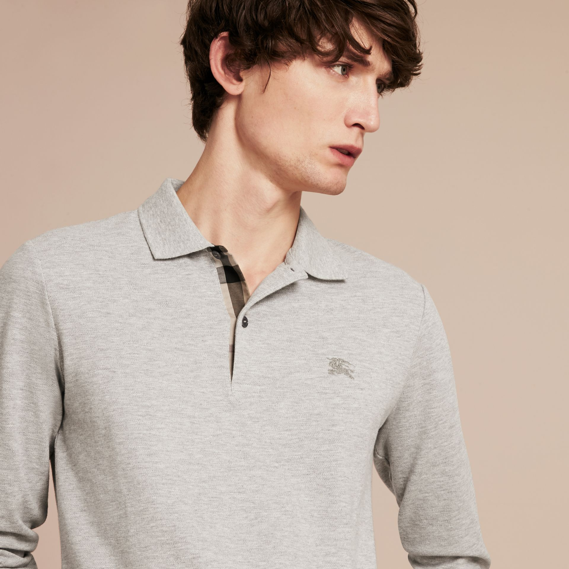Pale grey melange Check Placket Long Sleeve Polo Shirt Pale Grey Melange - gallery image 5
