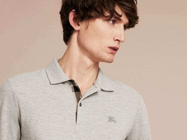 Pale grey melange Check Placket Long Sleeve Polo Shirt Pale Grey Melange - cell image 4