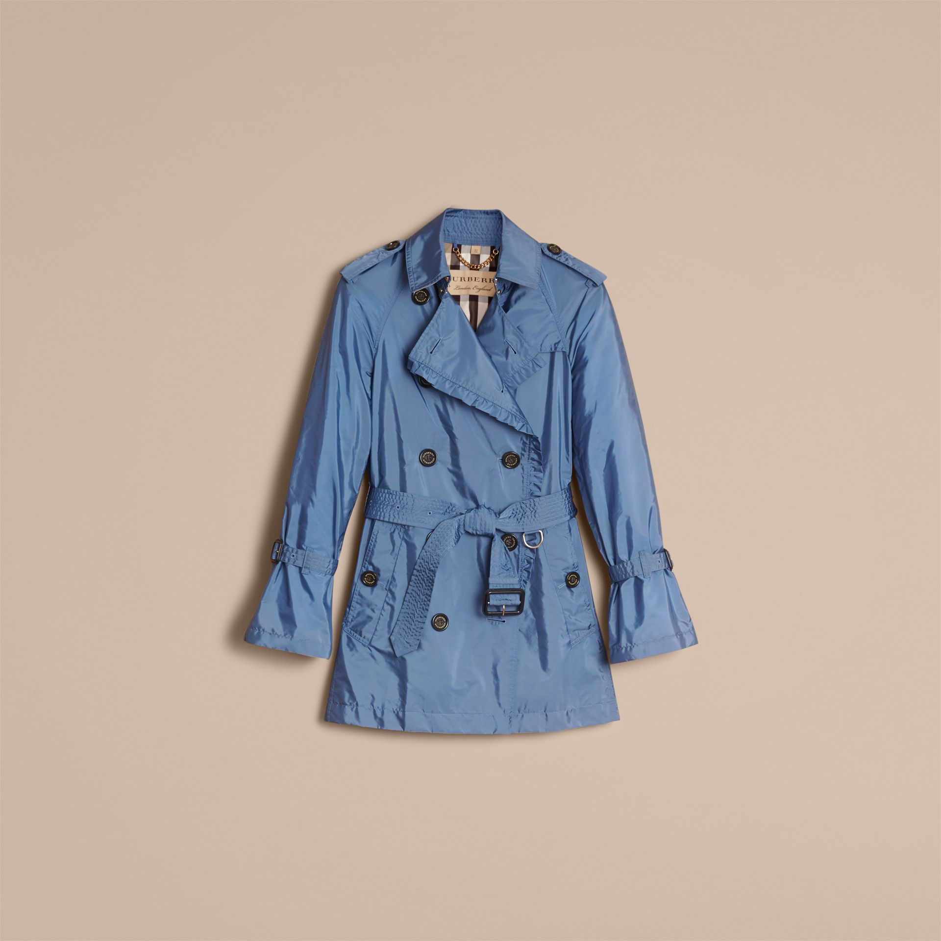 Packaway Ruffle Detail Showerproof Trench Coat in Lupin Blue - Women | Burberry - gallery image 4