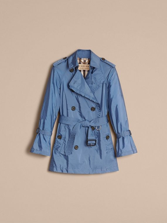 Packaway Ruffle Detail Showerproof Trench Coat in Lupin Blue - Women | Burberry - cell image 3
