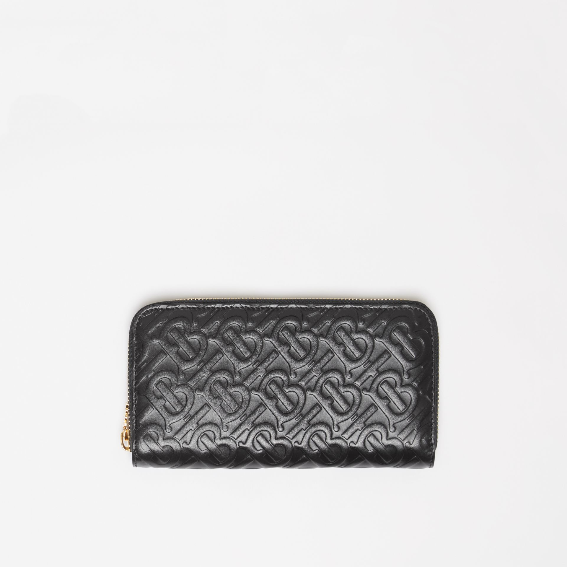 Monogram Leather Ziparound Wallet in Black - Women | Burberry - gallery image 0
