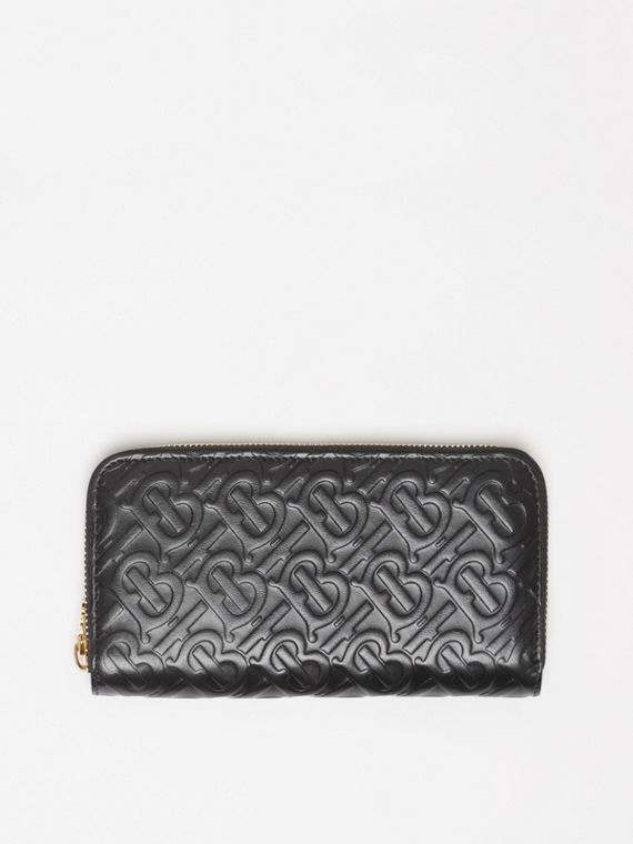 Monogram Leather Ziparound Wallet in Black