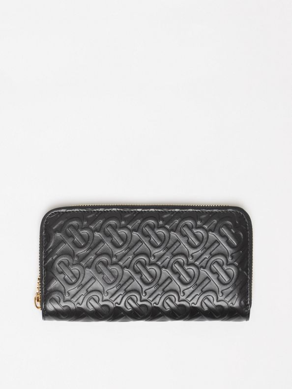 37f818513a6 Monogram Leather Ziparound Wallet in Black