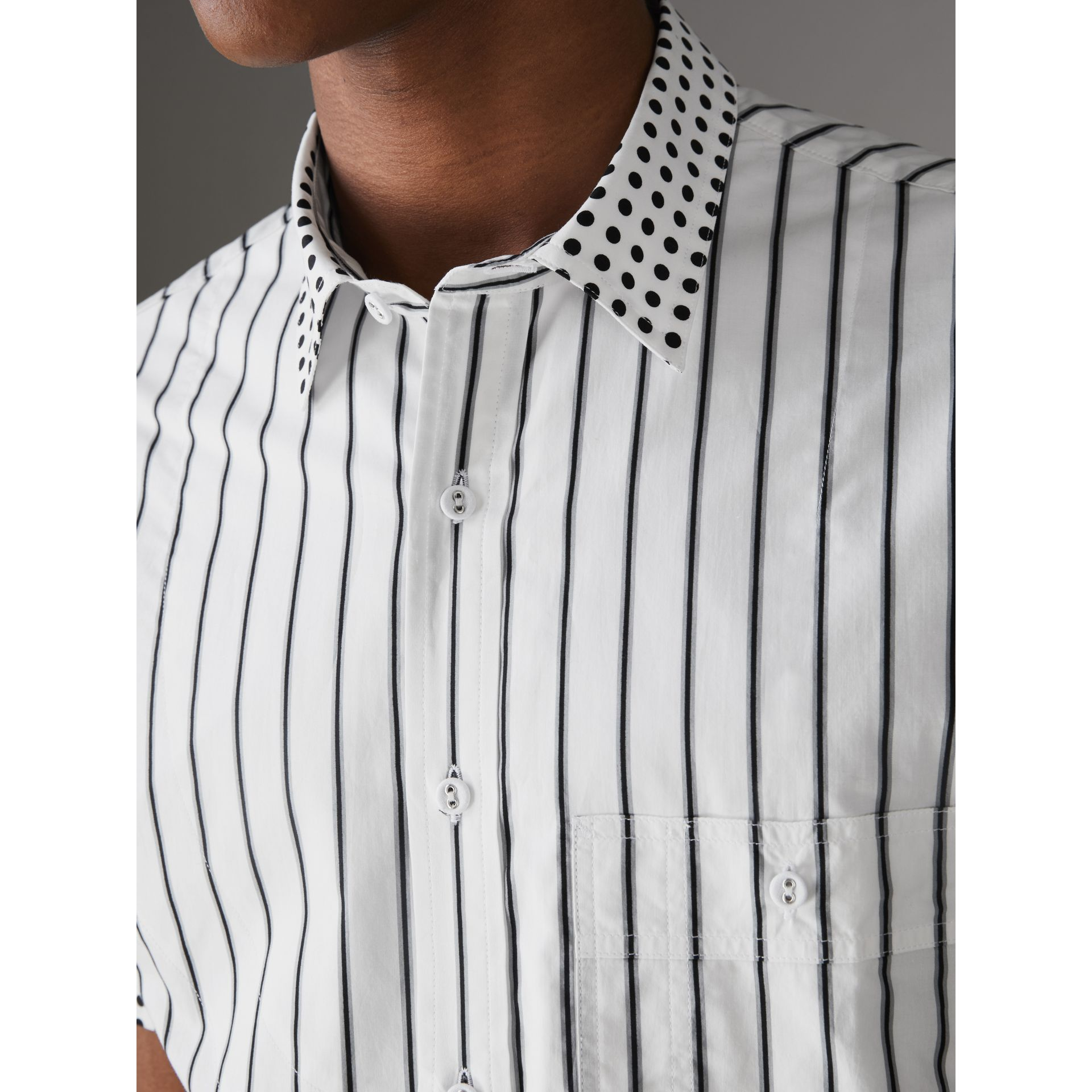 Short-sleeve Stripe and Spot Print Cotton Shirt in Black - Men | Burberry - gallery image 1