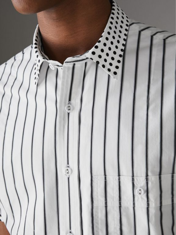 Short-sleeve Stripe and Spot Print Cotton Shirt in Black - Men | Burberry - cell image 1
