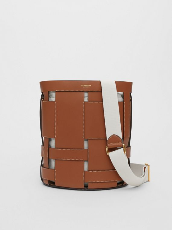 Small Leather Foster Bucket Bag in Malt Brown