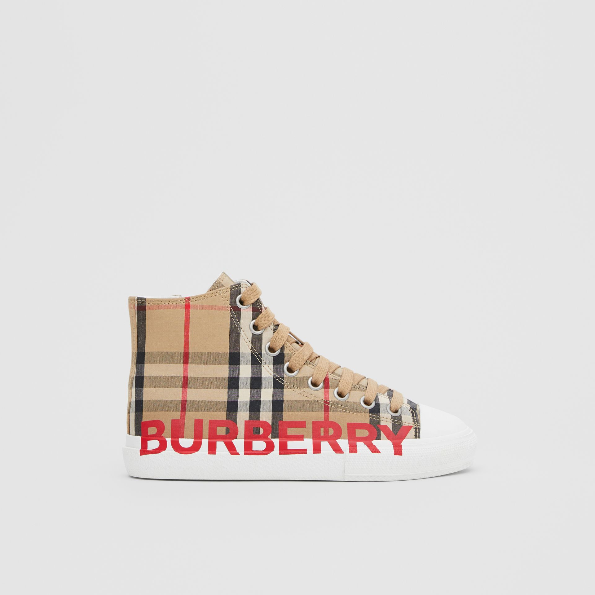 Logo Print Vintage Check High-top Sneakers in Archive Beige - Children | Burberry Hong Kong S.A.R - gallery image 3