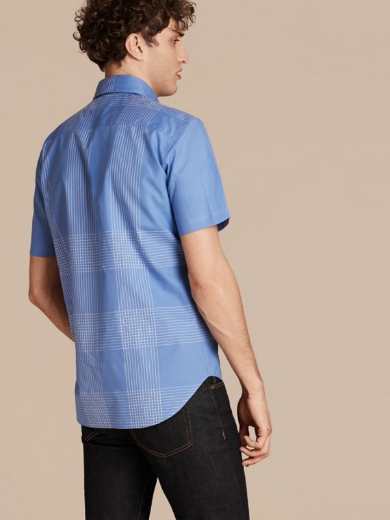 Bright hydrangea blue Short-sleeved Check Cotton Shirt Bright Hydrangea Blue - cell image 2