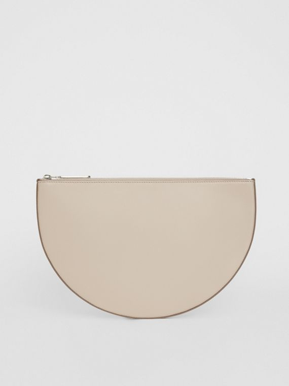 The Leather D Clutch in Stone