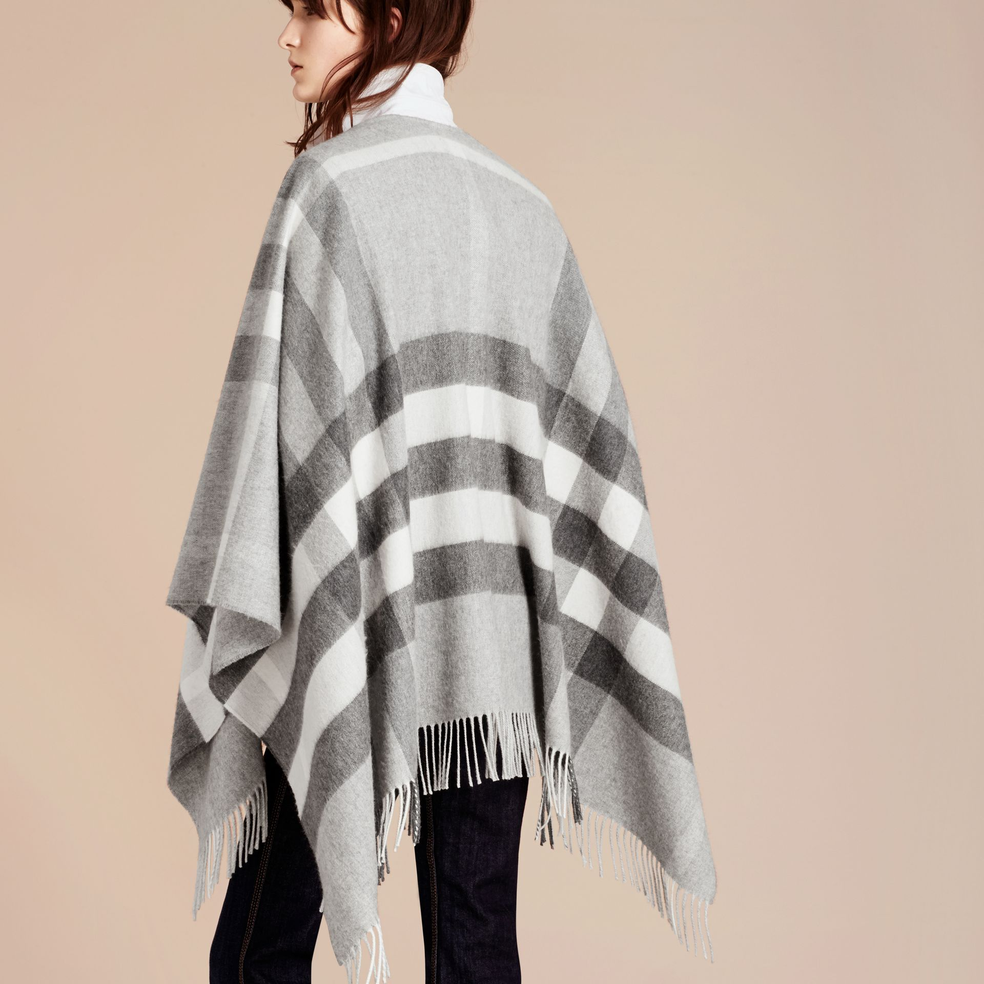Check Cashmere and Wool Poncho Pale Grey - gallery image 3