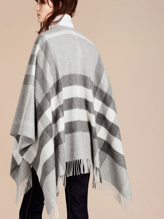 Check Cashmere and Wool Poncho in Pale Grey - Women | Burberry - cell image 2