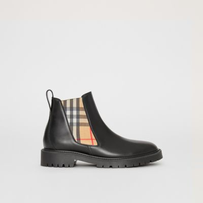 Vintage Check Detail Leather Chelsea Boots, Black