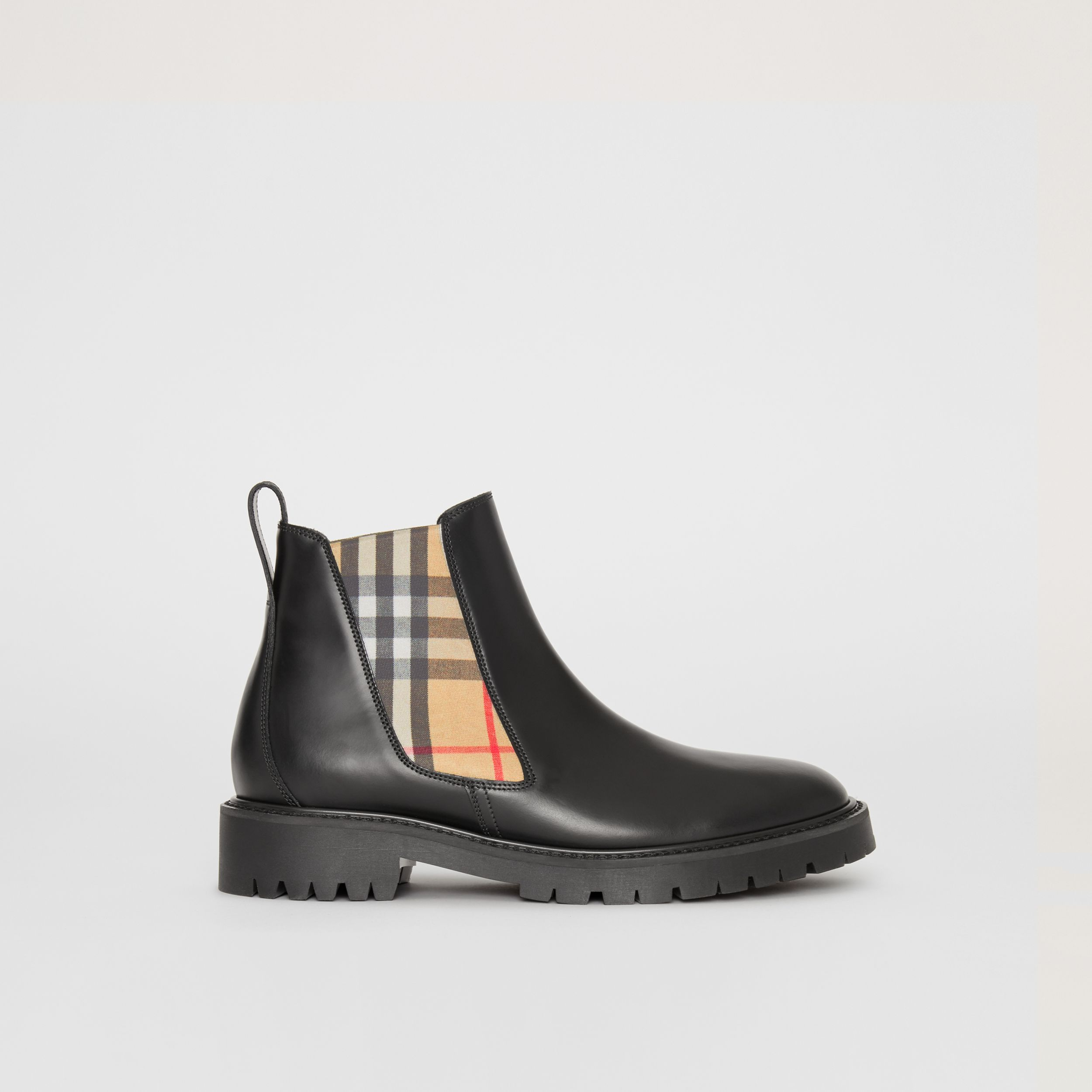 Vintage Check Detail Leather Chelsea Boots in Black - Women | Burberry United Kingdom - 1