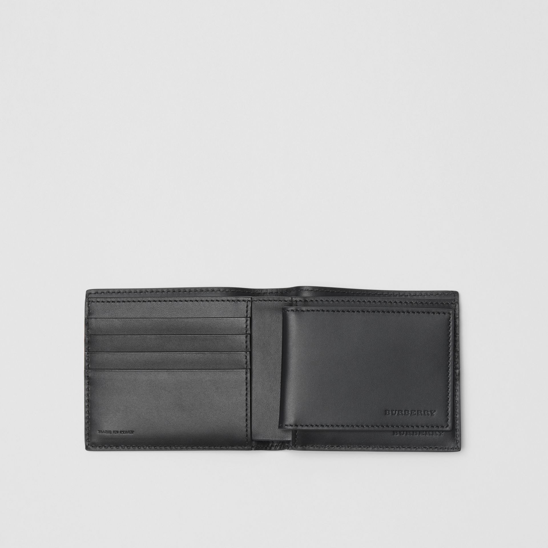 EKD London Leather Bifold Wallet with ID Card Case in Black - Men | Burberry Australia - gallery image 3