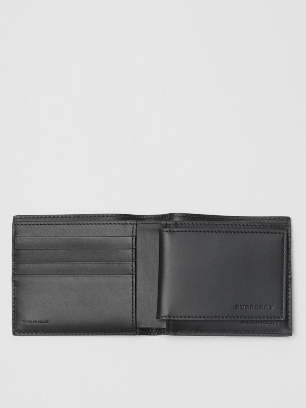 EKD London Leather Bifold Wallet with ID Card Case in Black - Men | Burberry Australia - cell image 3