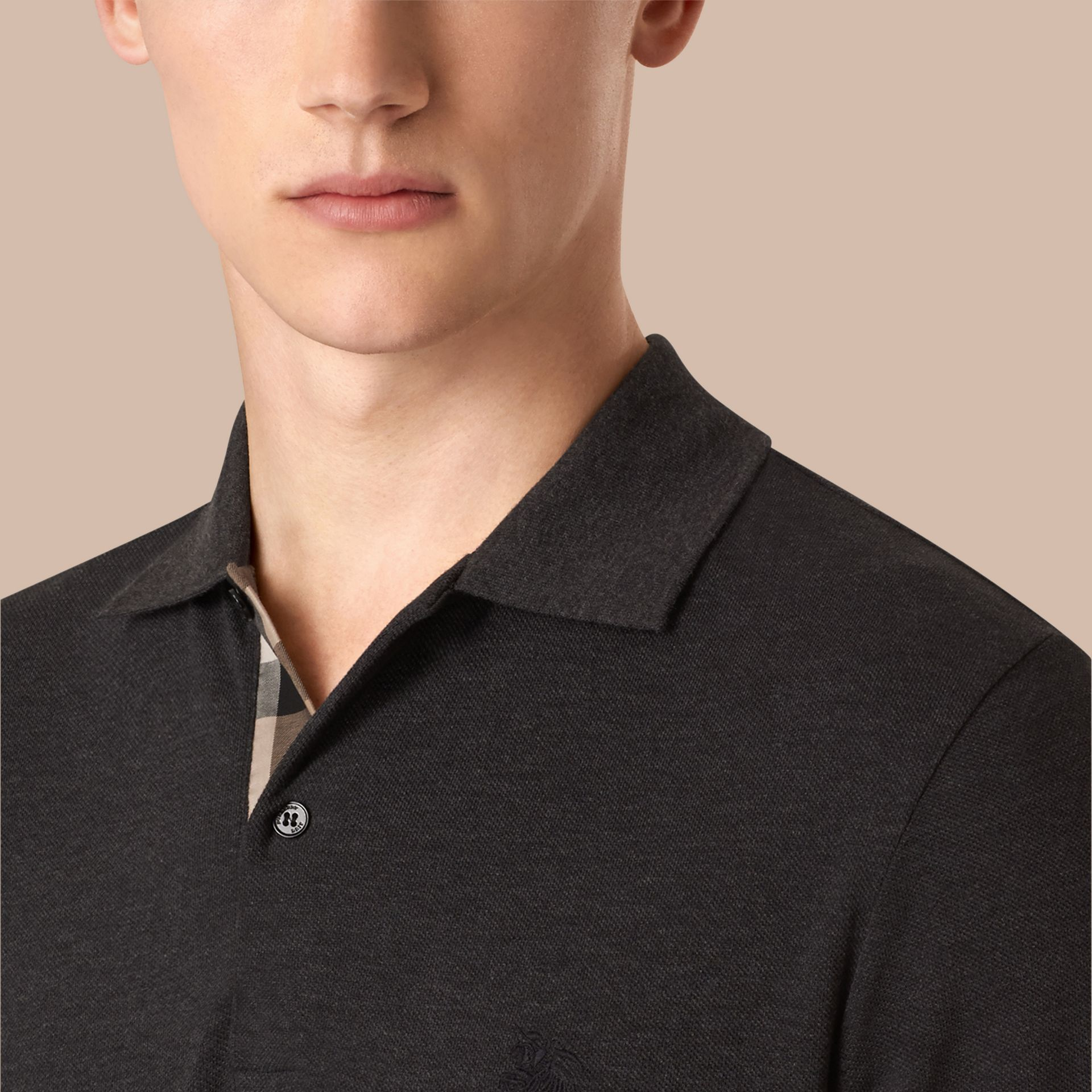 Dark charcoal melange Check Placket Cotton Piqué Polo Shirt Dark Charcoal Melange - gallery image 2