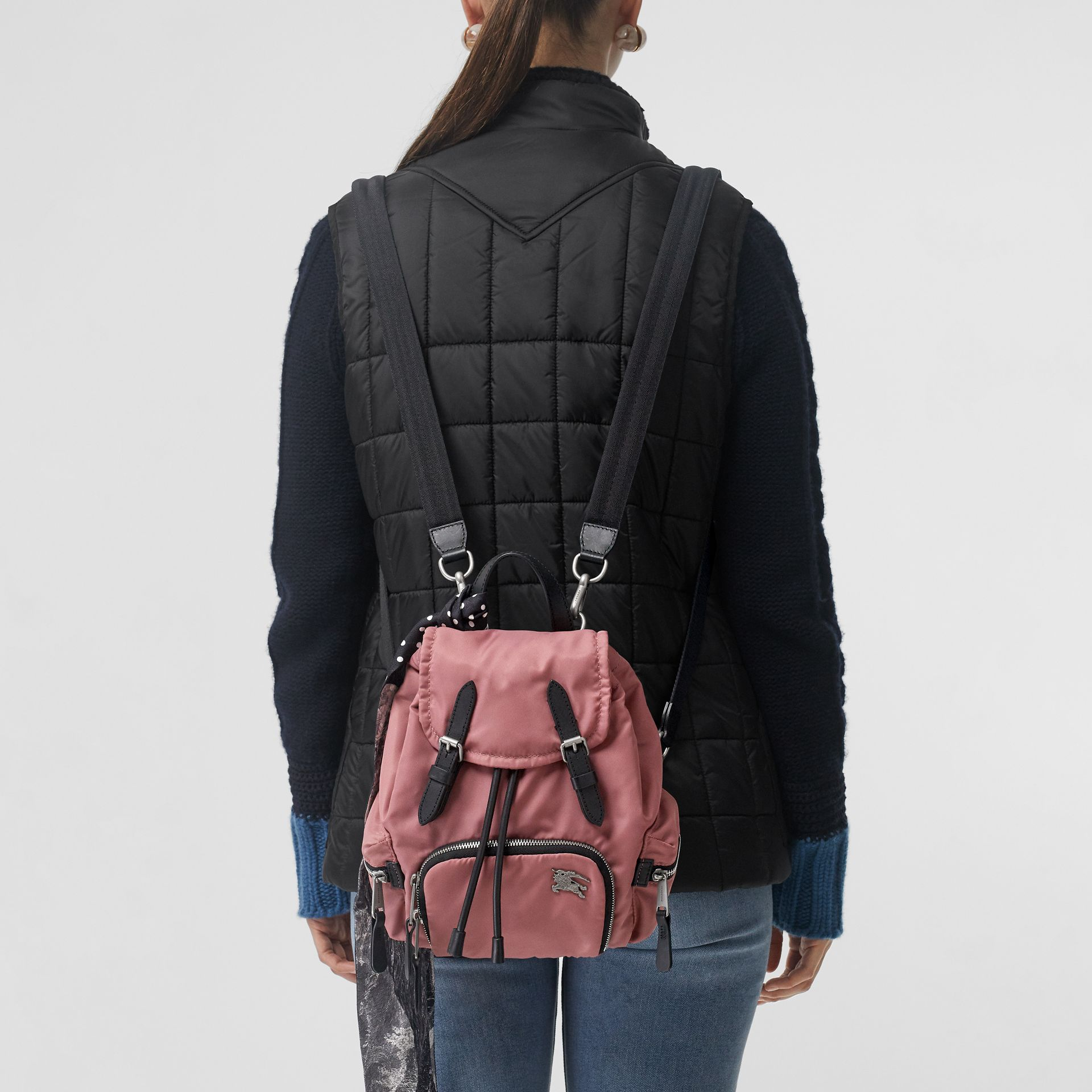 The Small Crossbody Rucksack in Puffer Nylon in Mauve Pink - Women | Burberry - gallery image 3