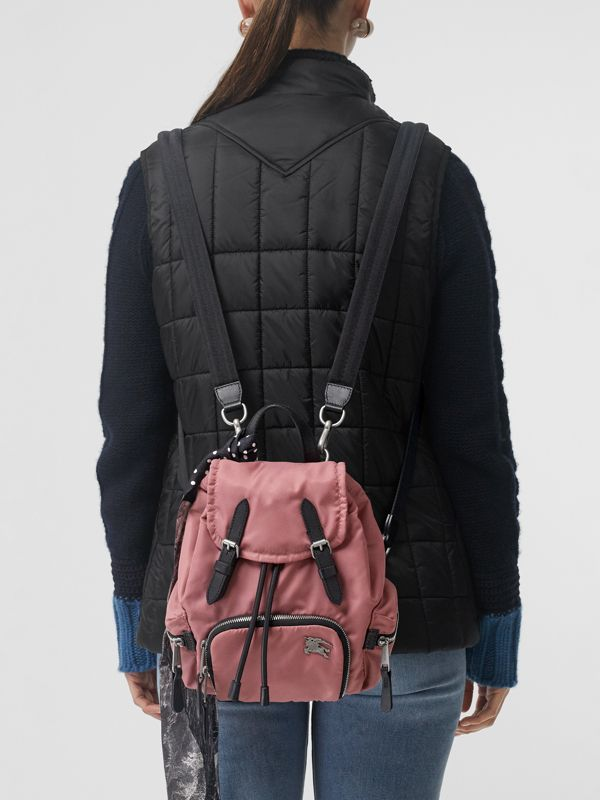 The Small Crossbody Rucksack in Puffer Nylon in Mauve Pink - Women | Burberry - cell image 3