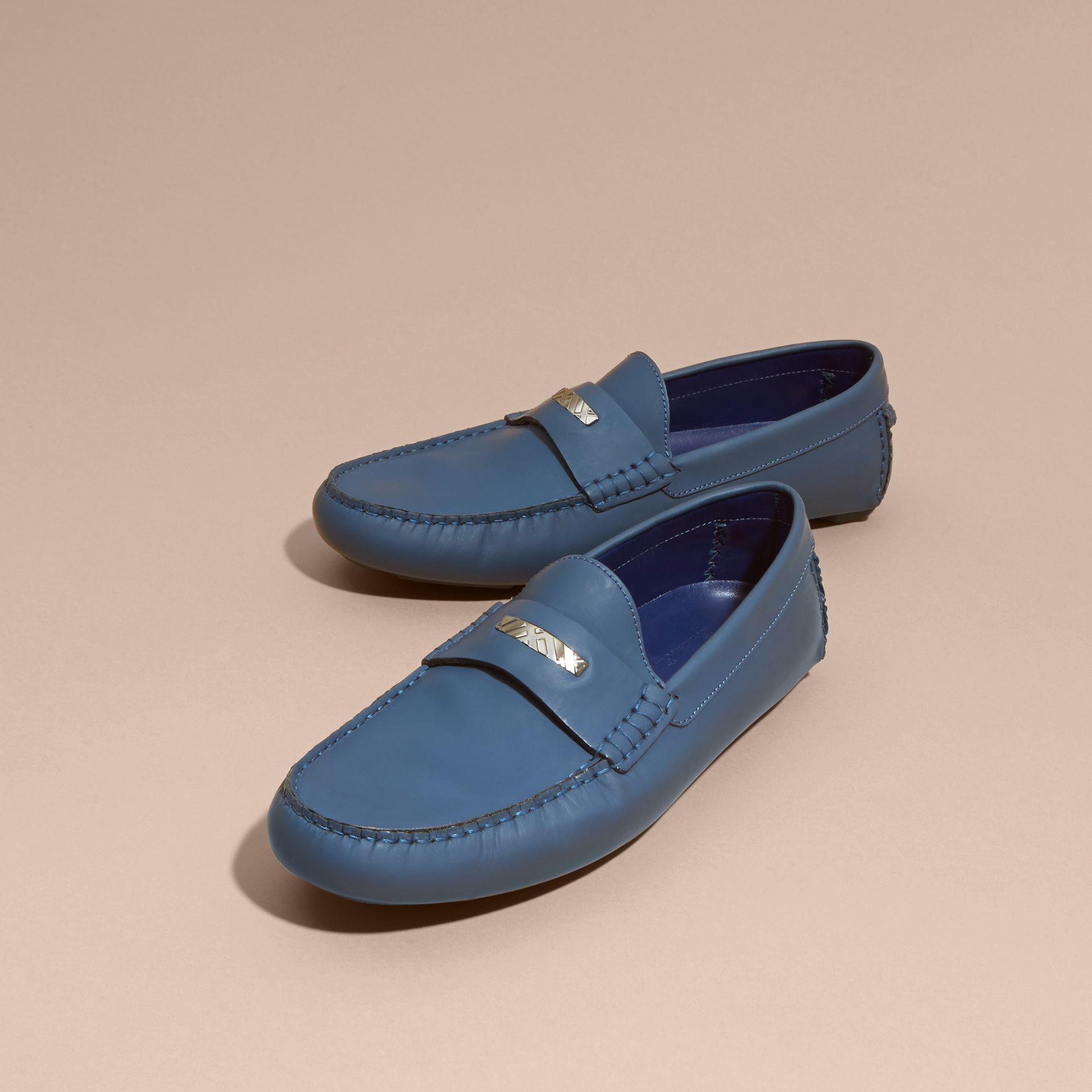 Leather Loafers with Engraved Check Detail Dark Mineral Blue - gallery image 4